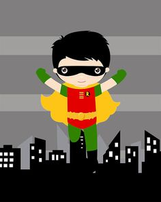 Superhero wall art PRINTS set of 4 8x10 inch high quality