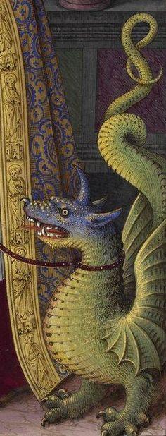 (detail) Manuscript illuminator Jean Bourdichon (1457-59-1521), 1503-08, Grandes Heures d'Anne de Bretagne, France. #Dragon