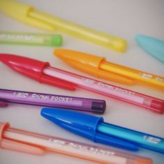 Fruit smelling BIC Cristal Pocket pens. Mini in size but BIG in awesomeness. Picked a gang in Paris, France. Office supplies rulz!!    (STMT X France Sourcing Trip – photo RAH)