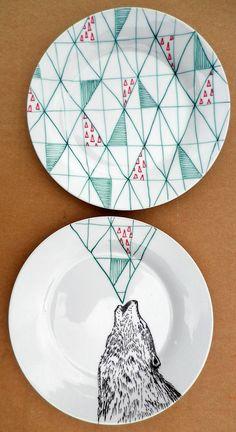 Howling Wolf Geometric Design Plates hand illustrated porcelain. €50.00, via Etsy.