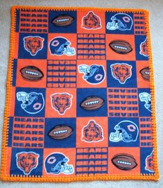 CHICAGO BEARS Baby Blanket FLEECE with Hand by DitzyBlondCrochet, $15.95