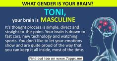 Find out what gender is your brain! holy crap it is right Get To Know Me, Let It Be, Thought Process, New Technology, Fast Cars, Book Quotes, Brain, Literature, Gender