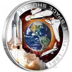 1981 First Space Shuttle Silver Orbital Coin space shuttle ,perth mint coin Cook Islands, First Space Shuttle, Perth, Edwards Air Force Base, Pop Art Women, Coin Auctions, Columbia, Mint Coins, Gold And Silver Coins