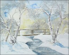 Birken am Winterbach - Aquarell - 24 x 30 cm / Watercolor / Painting / Original /// Prices from € 15 (Ebay auction) /// Postage and packing € 4 (Global shipping)