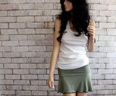 Olive drab Skirt, Foldover Mini Skirt, Yoga Skirt, Roller Derby Skirt, knit skirt on Etsy, $34.00