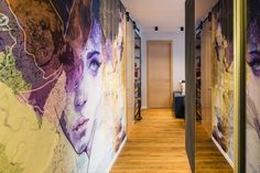 A Large Wall Mural Dominates This Young Couple's Apartment Young Couple Apartment, Couples Apartment, Bedroom Apartment, Apartment Ideas, Contemporary Apartment, Contemporary Style, Large Wall Murals, Young Couples, Mural Art