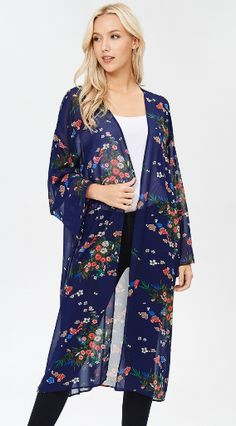 A long sleeve kimono with side slits featuring a beautiful navy floral print. Fabric is soft and drapes well. Made in the USA Floral Kimono Outfit, Lace Kimono, Kimono Top, Boutique Clothing, Fashion Boutique, Floral Duster, Long Sleeve Kimono, Duster Jacket, Floral Lace