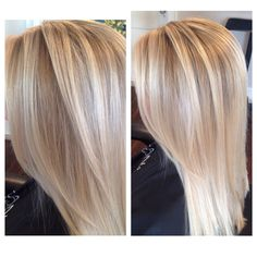Long layer soft a line haircut seamless layering blonde rooted subtle Ombre sombre Balayage using L'Anza Healing Haircolor blonde highlights and dimension ash baby beige blonde pale platinum ashy textured wavy one length by Natalie