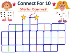 Flip dominoes and link them to make adding combinations that equal 10! How many combinations can you make as you fill in your game board?