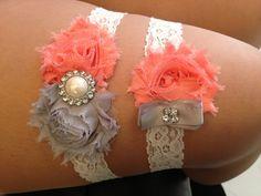 Coral / Grey Wedding Garter Set  Ivory Stretch Lace by HopesBridal, $21.00
