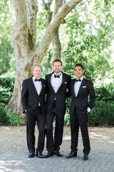 Stylish groom and groomsmen. Classic black and white tuxedo. Image by Wesley Vorster Black And White Tuxedo, Groom And Groomsmen, Suit Jacket, Stylish, Classic, Pants, Jackets, Wedding, Image