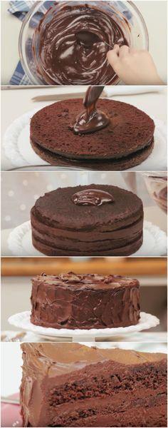 Bolo Especial de Chocolate | Um bolo de chocolate tão perfeito como esse você nunca viu! #bolo #bolodechocolate #boloperfeito