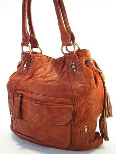 Sabina New York Tan Boho Hobo Drawstring Whipstitch Shoulder Bag   3870bc800590f