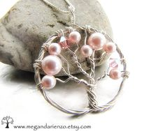 Cherry Blossom Necklace, Pink Pearl Tree of Life Necklace- Argentium Silver and Swarovski Elements