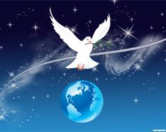 PowerPoint World Peace PPT Template is a pacifist design with a peace dove image flying over the Earth