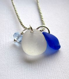 Genuine Sea Glass Jewelry By Garden Leaf Seaside!A super small piece of natural cobalt blue sea glass and a frosty white Sea glass join with a light blue crystal cut Czech glass bead. Jar Jewelry, Jewelery, Handmade Jewelry, Jewelry Making, Unique Jewelry, Sea Glass Necklace, Sea Glass Jewelry, White Sea, Blue And White