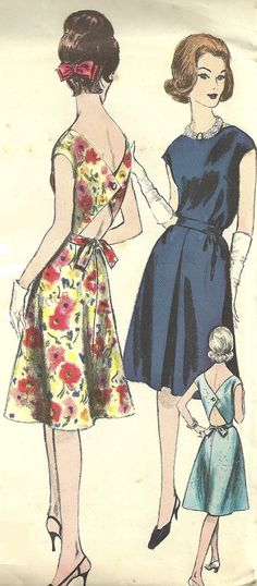 60s Vogue Dress, Sleeveless, V-Back, Uncut Early 60s Vintage Sewing Pattern, Vogue Young Fashionables, Easy to Make, Vogue 5449, Size 12