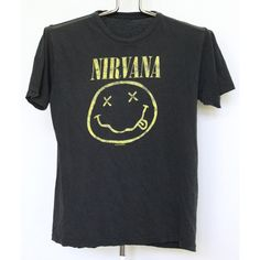 Nirvana T Shirt Mens Small Unisex Womens Tee Shirt 90s 1990s Faded... ($38) ❤ liked on Polyvore featuring men's fashion, men's clothing, men's shirts, men's t-shirts, mens t shirts, men's vintage t shirts, mens bib overalls, mens vintage overalls and mens long sleeve t shirts