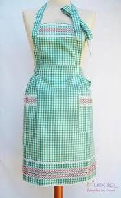 Resultado de imagen para bordado español Chicken Scratch Embroidery, Linen Apron, Bib Apron, Sewing Aprons, Kitchen Aprons, Aprons Vintage, House Dress, Gingham, Sewing Patterns