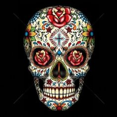 Unisex T Shirt Day of the Dead Sugar Skull With Roses 16553