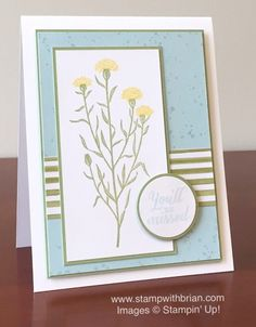 2015 Stamp Sets:  Wild About Flowers, Gorgeous Grunge  Papers:  Season of Cheer Designer Series Paper, Thick Whisper White, Pear Pizzazz, Soft Sky  Inks:  Daffodil Delight, Pear Pizzazz, Soft Sky  Accessories:  1-3/8″ Circle punch, 1-1/4″ Circle punch, Stampin' Dimensionals