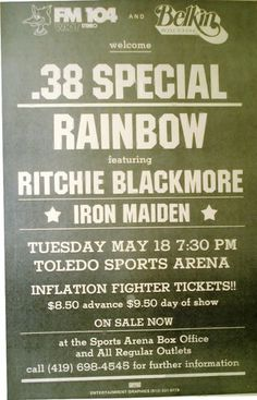 .38 Special Rainbow Iron Maiden Blackmore Live Rare Concert Sheet Poster Print