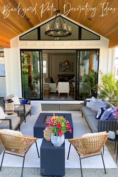Come summer, I can't wait to spend ALL the time outdoors that I possibly can. I've always dreamed of having a big covered patio area, and today I'm sharing how I've decorated the backyard covered patio in our new build home so we can enjoy it all season long. Backyard Covered Patios, Covered Patio Design, Small Covered Patio, Outdoor Rooms, Outdoor Living, Small House Decorating, Summer Decorating, Decorating Tips, Deck Makeover