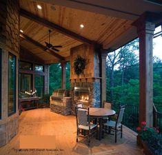 like the outdoor fireplace and grill