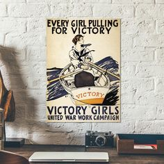 """Vintage World War I propaganda poster by shows a young woman rowing a boat named """"Victory"""". War art - Girlpower - wall art - historic by OldPrintARTcom on Etsy https://www.etsy.com/listing/246809184/vintage-world-war-i-propaganda-poster-by"""