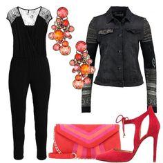 Per+una+serata+importante,+dove+volete+sentirvi+speciali,+indossate+tuta+jumpsuit+black+alla+caviglia,+con+scollo+incrociato+e+maniche+molto+corte.+Abbinate+giacca+di+jeans+black,+décolleté+red,+pochette+rojo+e+bellissimi+orecchini+coralline.+Tutti+gli+occhi+saranno+per+voi.