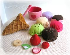 Ice Cream Set toys for children. All toys are hand made with felt and wadding.    One set is made of:    6 ice cream balls  1 ice cream cone  5