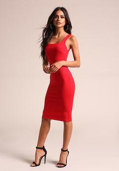 Red Square Neck Bodycon Dress - Bodycon - Dresses
