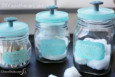 make stylish DIY apothecary jars with glass paint & drawer knobs… Mason Jar Crafts, Mason Jar Diy, Creative Crafts, Diy Crafts, Label Shapes, Dog Treat Jar, Mason Jar Soap Dispenser, Do It Yourself Inspiration, Pots