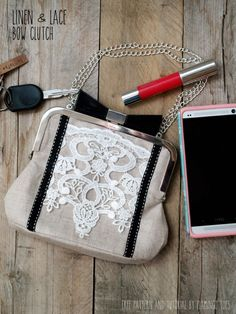 Linen and Lace Bow Clutch