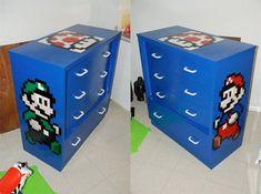Super Mario and Luigi Dresser Super Mario Bros, Super Mario Brothers, Kids Bedroom, Bedroom Decor, Nerd Bedroom, Modern Bedroom, Bedroom Ideas, Mario Und Luigi, Mario Room