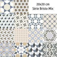 Carrelage imitation anciens carreaux de ciment décor formes géométriques 20x20 cm