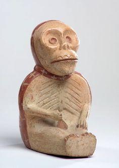 Personaje esqueletizado que sostiene su pene (quebrado). Museo Larco, Lima, Perú. Cultura moche o mochica   Sexualidades prehispánicas