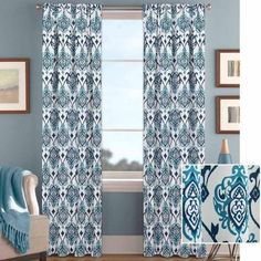 Better Homes And Gardens Indigo And Aqua Damask Curtain Panel