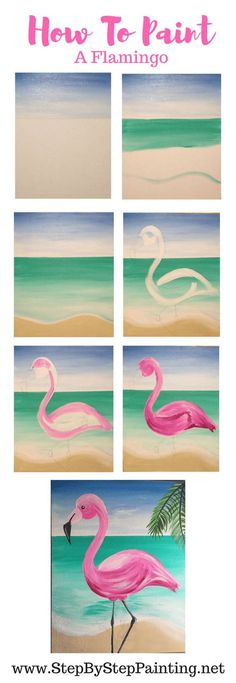 Flamingo Painting - Learn How To Paint A Flamingo Step By St.- Flamingo Painting – Learn How To Paint A Flamingo Step By Step How To Paint A Flamingo – Step By Step Painting - Easy Canvas Painting, Acrylic Painting Tutorials, Diy Painting, Canvas Art, How To Draw Painting, Painting Shower, Flamingo Painting, Flamingo Art, Pink Flamingos