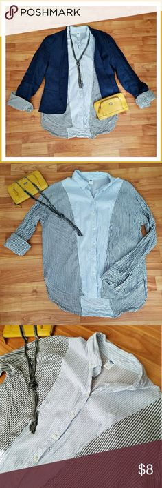 Lightweight Soft Button Up Blue and grey striped button up.  Soft cotton/rayon blend. Looks great with Cynthia Rowley Blazer I have for sale. Old Navy Tops Button Down Shirts