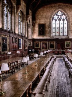 Oxford University ~ Great Hall of Christ Church.  Fans of the Harry Potter films will instantly recognize It was the inspiration for the dining scenes at Hogwarts School for Wizardry. They didn't actually film here but replicated The Great Hall in the film studio.