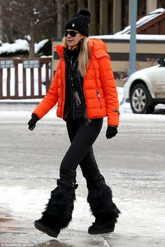 Hiding The Body: Elle Macpherson kept her supermodel physique firmly under wraps in cosy ski wear as she prepared to hit the slopes in Aspen, Colorado, on Monday