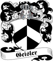 Geisler Coat of Arms - Visit our website at www.4crests.com for lots of great products featuring this family coat of arms. We carry glassware, rings, plaques, flags, prints, jewelry and hundreds of other Crest products. #coatofarms #familycrest #familycrests #coatsofarms #heraldry #family #genealogy #familyreunion #names #history #medieval #german #familyshield #shield #crest #clan #badge #tattoo #jewelry #crafts #scrapbooking #scrapbook #gift