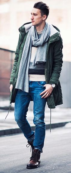 de87d9afaa7 Reach for a dark green parka and blue skinny jeans