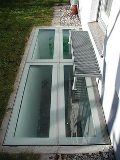 Window well cover Basement Doors, Window Well, Windows, Outdoors, Houses, Cover, Sun, Patio, Mirrors