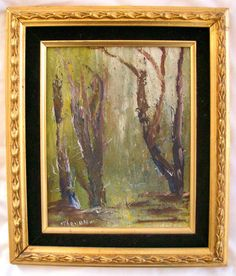Vintage Original Oil Painting Signed Forest by therecyclingethic