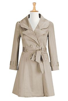 Cotton sateen belted trench from eShakti. Available in 5 colors for $99.95 - add $7.50 for custom sizing. Not a bad price for a custom coat.