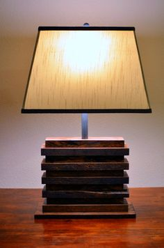 Industrial Handmade Reclaimed Oak Pallet Lamp tall wide and deep. Wooden Lamp, Wooden Diy, Diy Furniture Making, Furniture Ideas, Rustic Home Design, Reclaimed Wood Projects, Rustic Lamps, Rustic Contemporary, French Oak