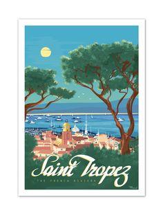 """€25 . Affiche Marcel SAINT-TROPEZ """"The French Riviera"""" . Papier 350g/m² Couché Mat"""