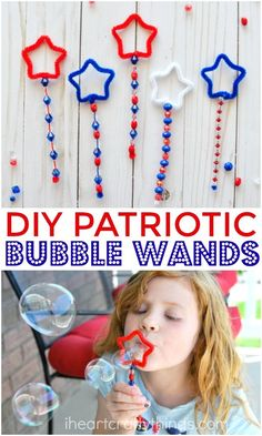 These Patriotic DIY Bubble Wands are a great summer activities for kids, summer kids craft, Fourth of July activities for kids and Fourth of July Crafts. Awesome Fourth of July Independence Day activity and ideas for kids and families this summer. Summer Crafts For Kids, Summer Activities For Kids, Summer Kids, Projects For Kids, Art For Kids, Craft Projects, Craft Ideas, Fourth Of July Crafts For Kids, Craft Box